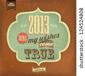 vintage happy new year... | Shutterstock .eps vector #124524808