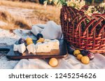picnic in nature. cheese brie... | Shutterstock . vector #1245254626