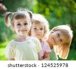 group of happy children playing ... | Shutterstock . vector #124525978