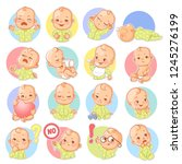 set with baby stickers. cute...   Shutterstock .eps vector #1245276199
