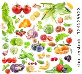 big collection of fruits and... | Shutterstock . vector #124529923