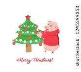 piglets decorating christmas... | Shutterstock .eps vector #1245299353