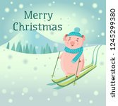 piglet in hat and scarf skiing... | Shutterstock .eps vector #1245299380