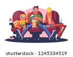 family in cinema watching movie ... | Shutterstock .eps vector #1245334519