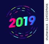 2019 new year glitch effect...   Shutterstock .eps vector #1245339646