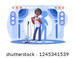 young man stand up performing... | Shutterstock .eps vector #1245341539