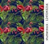 watercolor tropical wildlife ... | Shutterstock . vector #1245343216