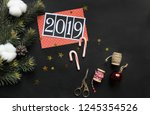 christmas. new year. 2019.... | Shutterstock . vector #1245354526
