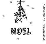 hand drawn christmas mistletoe... | Shutterstock .eps vector #1245360049