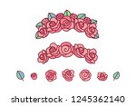 vector flower crown. red rose... | Shutterstock .eps vector #1245362140