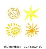 vector hand drawn sun. set.... | Shutterstock .eps vector #1245362410