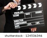 movie production clapper board...   Shutterstock . vector #124536346