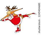 santa. figure skating. vector... | Shutterstock .eps vector #1245404680