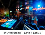 dj mixes the track in the... | Shutterstock . vector #1245413533