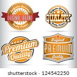 set of vintage orange quality... | Shutterstock .eps vector #124542250