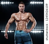 bodybuilding competitions on... | Shutterstock . vector #1245426109