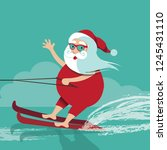 cartoon santa claus water... | Shutterstock .eps vector #1245431110