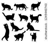 vector set of cats silhouettes... | Shutterstock .eps vector #1245440743