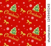 seamless christmas pattern on a ... | Shutterstock . vector #1245445243