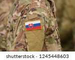 flag of slovakia on soldiers... | Shutterstock . vector #1245448603