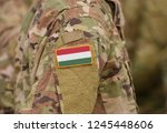 flag of hungary on soldiers arm ... | Shutterstock . vector #1245448606
