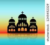 greek church black silhouette... | Shutterstock .eps vector #1245452329