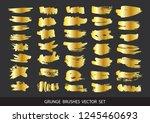 set of gold paint  ink brush... | Shutterstock .eps vector #1245460693