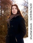 portrait of young brunette... | Shutterstock . vector #1245467620