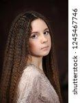 portrait of beautiful pretty... | Shutterstock . vector #1245467746