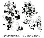 ink hand drawn flowers. can be... | Shutterstock . vector #1245475543