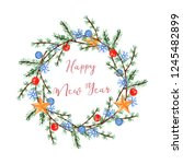 watercolor christmas wreath... | Shutterstock . vector #1245482899