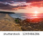 amazing sunset on the ocean.... | Shutterstock . vector #1245486286