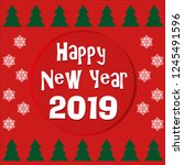 happy new year 2019 greating... | Shutterstock .eps vector #1245491596