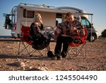 middle aged travelers couple... | Shutterstock . vector #1245504490