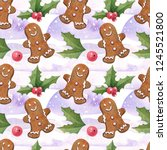 watercolor christmas pattern... | Shutterstock . vector #1245521800