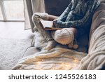 cold autumn or winter weekend... | Shutterstock . vector #1245526183