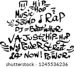 many graffiti tags on a white... | Shutterstock .eps vector #1245536236