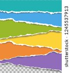 vector torn paper. collection... | Shutterstock .eps vector #1245537913