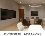 modern office room interior... | Shutterstock . vector #1245561493