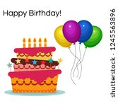 greeting card with sweet cake... | Shutterstock . vector #1245563896
