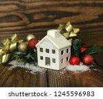 real estate christmas... | Shutterstock . vector #1245596983