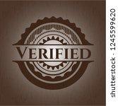 verified retro wooden emblem | Shutterstock .eps vector #1245599620