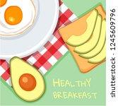 avocado toast. fresh toasted... | Shutterstock .eps vector #1245609796