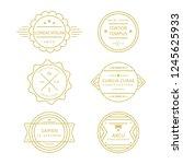 assorted circle line vintage... | Shutterstock .eps vector #1245625933
