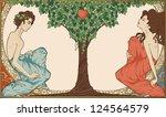 adam and eve  art nouveau style | Shutterstock .eps vector #124564579