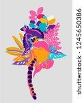 two lemurs sitting among the... | Shutterstock .eps vector #1245650386