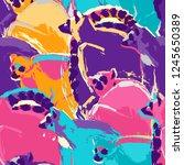 seamless pattern of wild lemurs ... | Shutterstock .eps vector #1245650389