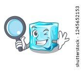 detective ice cubes wiht mascot ... | Shutterstock .eps vector #1245652153