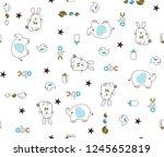 rabbits elephants birds baby... | Shutterstock .eps vector #1245652819