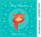 happy new year greeting card... | Shutterstock .eps vector #1245657049